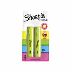 2 Highlighters Fluorescent Yellow XL Sharpie Smear Guard