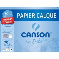 Carta da lucido Canson 12 fogli 24 x 32 cm