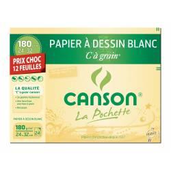 12 Papiers à dessin Blanc CANSON C à grain 24 X 32 CM 180g