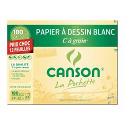 12 White drawing papers CANSON C grain 24 X 32 CM 180g