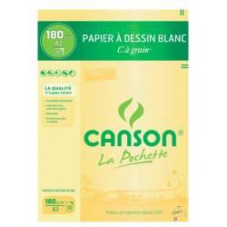 12 Papiers à dessin Blanc CANSON C à grain A3 180g 29.7x42cm