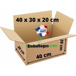Lot Carton d'Expédition ou Déménagement 40X30X20 cm - fabriqué en France - 1Emballages.com