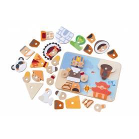 Sevi - Puzzle En Bois 6 en 1 - Créatif Tribu