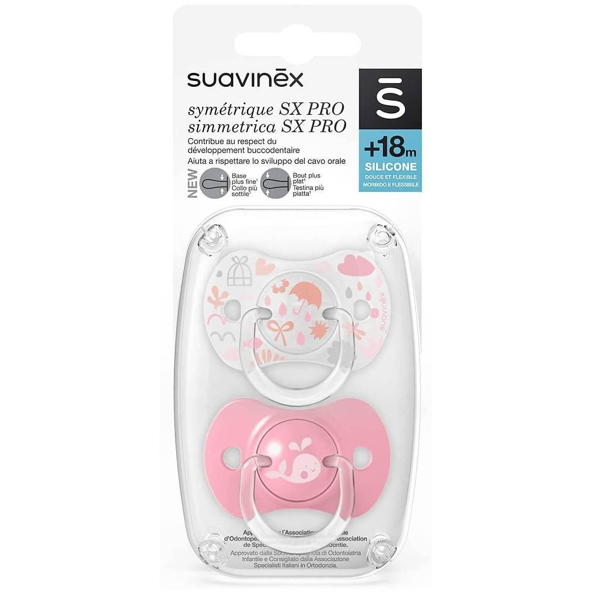 Sucettes Suavinex Symétrique Sx Pro Memory Rose 18 mois +
