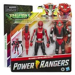 Figuur Power Rangers Red en Morphin Cruise Beast morphers 10 cm