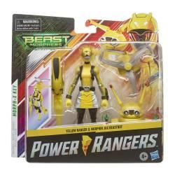 Figuur Power Rangers Yellow en Morphin JAX Beast morphers 15 cm