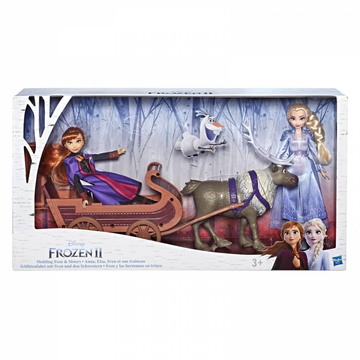 Coffret Poupée La Reine des Neiges 2 Anna, Elsa, Sven et son Traîneau