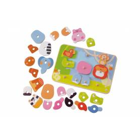 Sevi - Puzzle En Bois 6 en 1 - Theme Savane 30 pièces - 82089