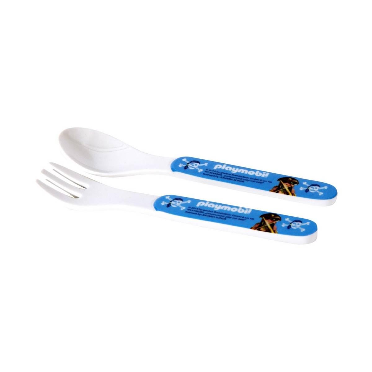 Cuillère et fourchette Playmobil - bleu