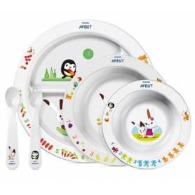 Philips AVENT - Set complet (assiette + 2 bols + set couverts 2ème âge) nouveau design