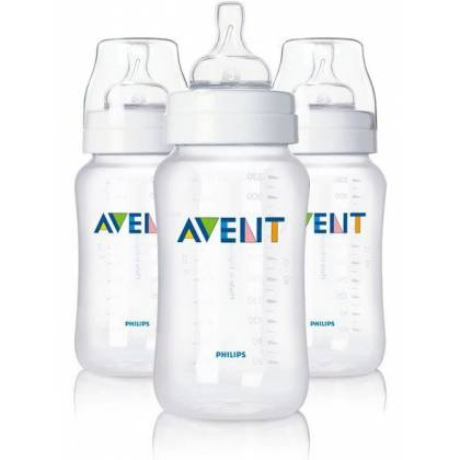 Philips Avent Lot de 3 Biberons 330 ml Classic + Transparent