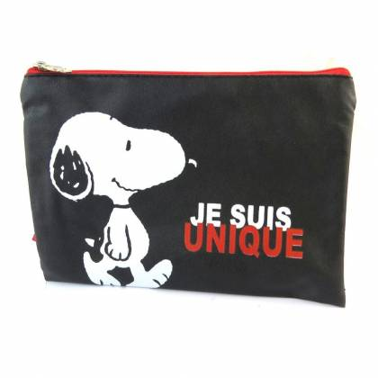 Snoopy Pochette trousse plate Je suis unique 19 x 13.5 cm