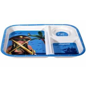 Plateau Repas Assiette à Compartiments Playmobil Pirate Bleu
