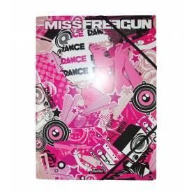 "Freegun - Chemise à élastique avec rabat ""Miss Freegun"" A4 - 24x32 cm"