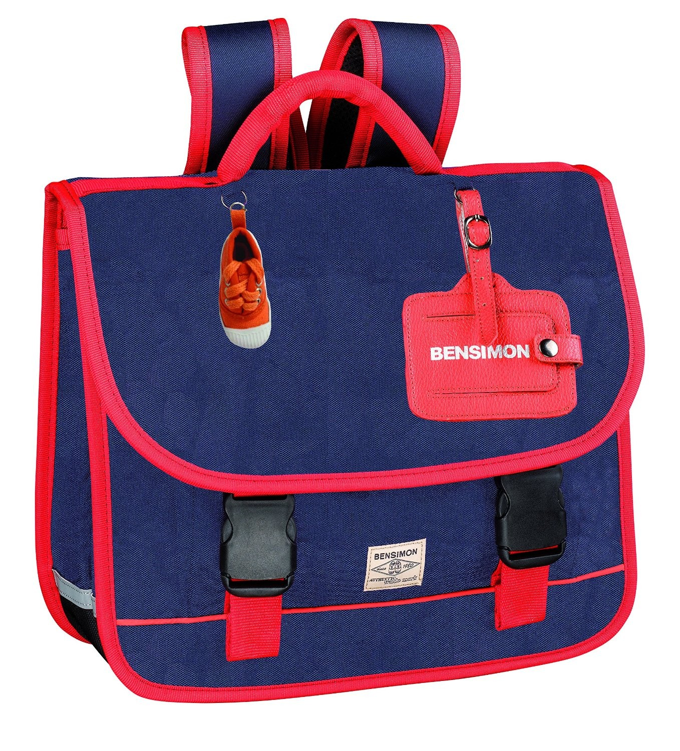 bensimon color cartable bleu 2 compartiments 36 cm