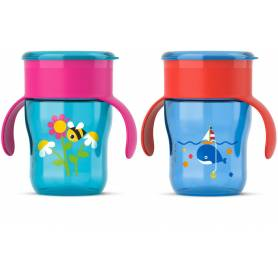 Philips Avent - Tasse d'apprentissage Baleine ou Abeille 260 ml - 12m+