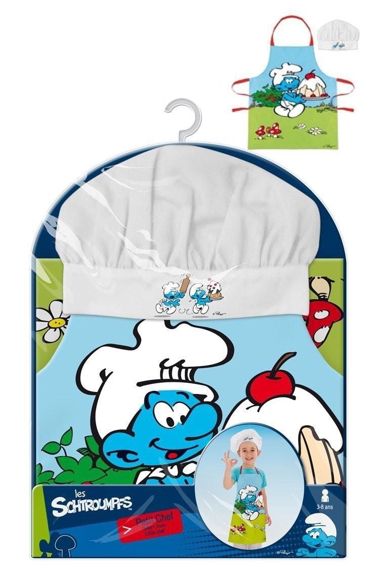 Les schtroumpfs tablier et toque de cuisine pour enfants - Tablier de cuisine enfant personnalise ...
