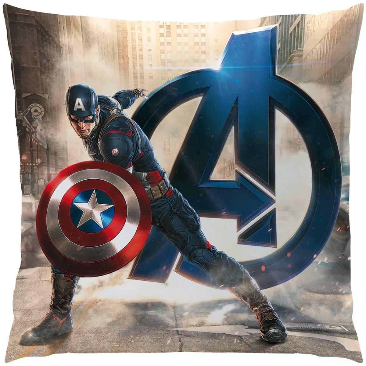 Coussin Motif Avengers Age of Ultron - Iron Man et Captain America