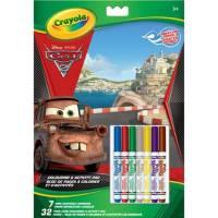 Set Coloriage Cars Disney - 20 Pages à Colorier et 7 Feutres Lavables
