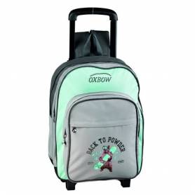 "OXBOW - Cartable Scolaire à roulette - "" Back to Powder"" - Gris/Vert"