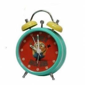 Les Minions - Réveil avec Alarme 12 cm - Vert, Jaune et Rouge