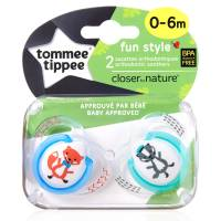 """Tommee Tippee - Lot de 2 Sucettes Fun Style Animaux """"Renard/Raton"""" - 0/6 mois"""