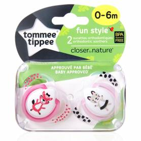 Tommee Tippee - Lot de 2 Sucettes Fun Style Animaux -Biche/Chat - 0/6 mois