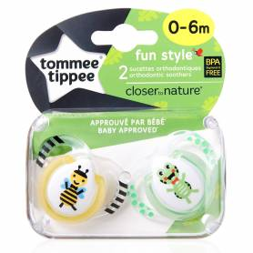"Tommee Tippee - Lot de 2 Sucettes Fun Style Animaux ""Abeille/Tortue"" - 0/6 mois"