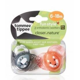 Tommee Tippee - Lot de 2 Sucettes Fun Style Animaux - Renard/Raton - 6/18 mois