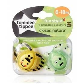 Tommee Tippee - Lot de 2 Sucettes Fun Style Animaux - Abeille/Grenouille - 6/18 mois