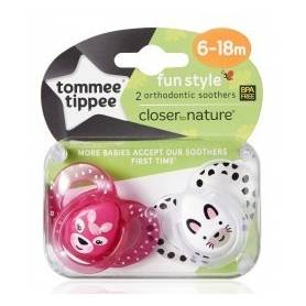 Tommee Tippee - Lot de 2 Sucettes Fun Style Animaux - Biche/Chat - 6/18 mois