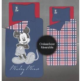 Mickey - Parure de Lit Housse de Couette Réversible - Bleu / Carreaux Rouge - 140 x 200 cm + 1 taie d'Oreiller - Disney
