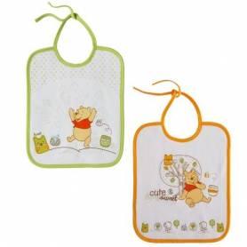 Babycalin - Lot de 2 Bavoirs Naissance Doodle Craft Winnie l'Ourson - Vert et Orange