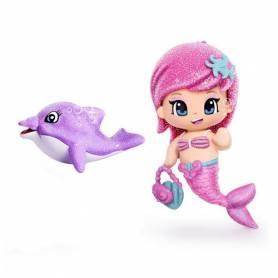 Pinypon - Figurine Sirène et Son Dauphin Violet