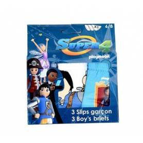 Playmobil Super 4 - Lot de 3 slips garçon de 2 à 8 ans