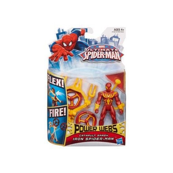 Ultimate Spider-Man - Power Webs - Figurine Iron Spider-Man - Catapulte Fracassante - 10 cm