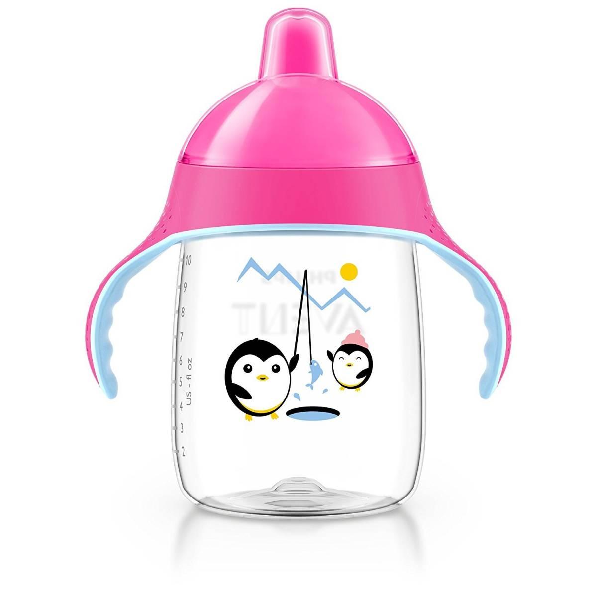 Philips Avent - Tasse bec anti-fuites Pingouin Rose - 340 ml - 18 mois +