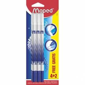 Maped - 6 Effaceurs pour Encre Bleu - Pointe Biseautée