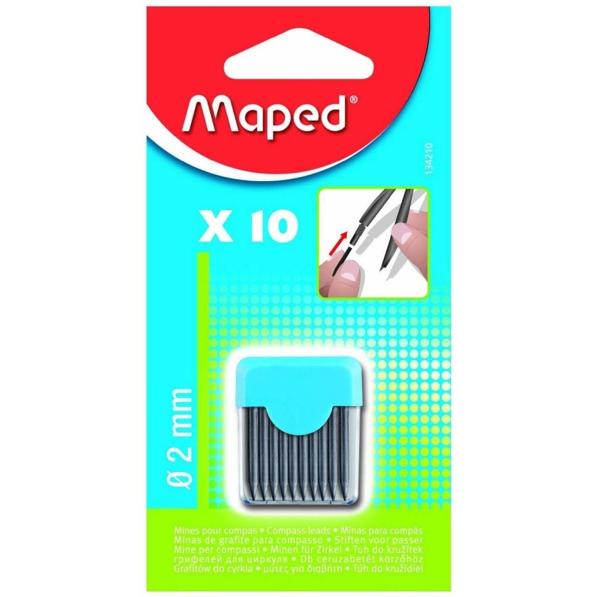 MAPED -Etui de 10 Mines pour Compas - 2 mm