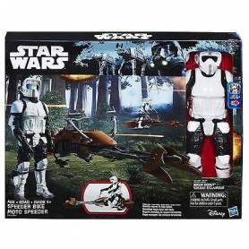 Star Wars - Figurine 30 cm et Véhicule Motojet - Biker Scout