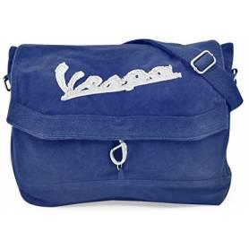 "Vespa - Sacoche Besace toile coton ""stone washed"" Bleu"