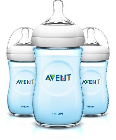 Philips AVENT - Lot de 3 Biberons natural 260 ml bleu