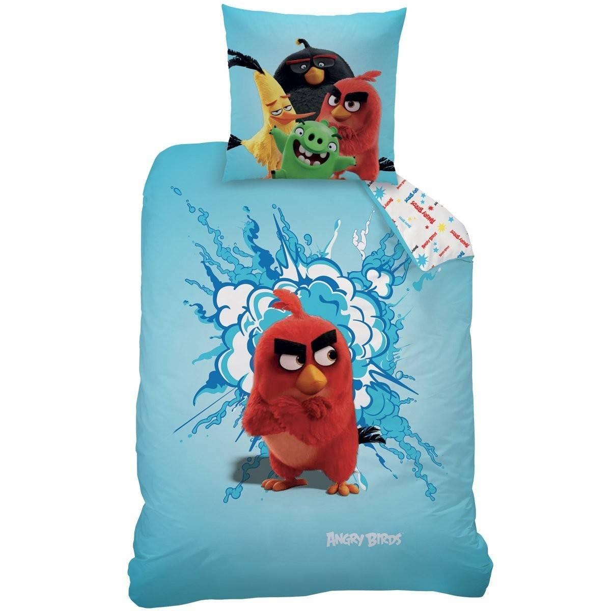 Angry Birds - Housse de Couette 140 x 200 cm + Taie d'Oreiller 63 x 63 cm - Bleu