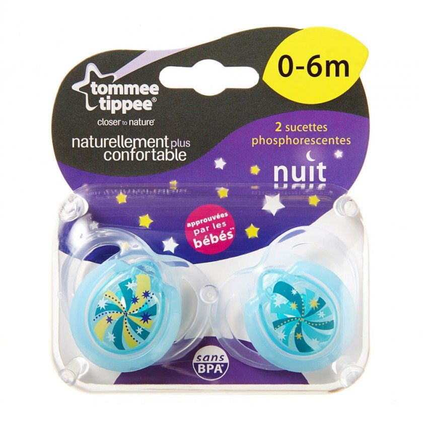 Tommee Tippee - Lot de 2 Sucettes Night - 6/18 Mois