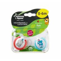 Tommee Tippee - Lot de 2 Sucettes Fun Style - 0/6 Mois
