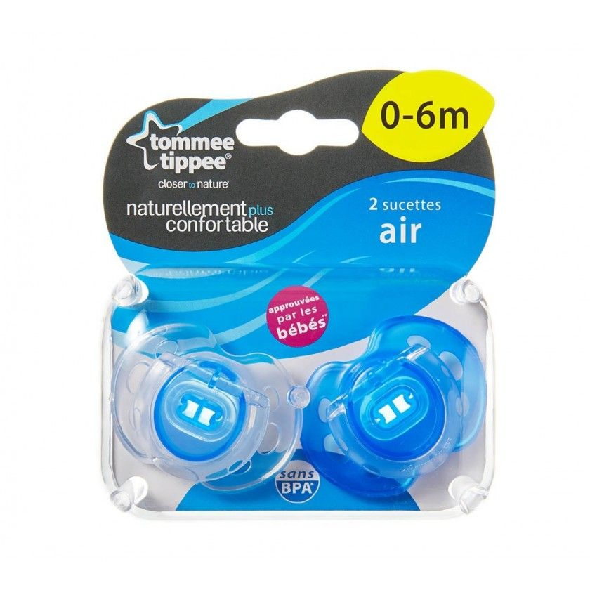 Tommee Tippee - Lot de 2 Sucettes Air Style - 0/6 Mois