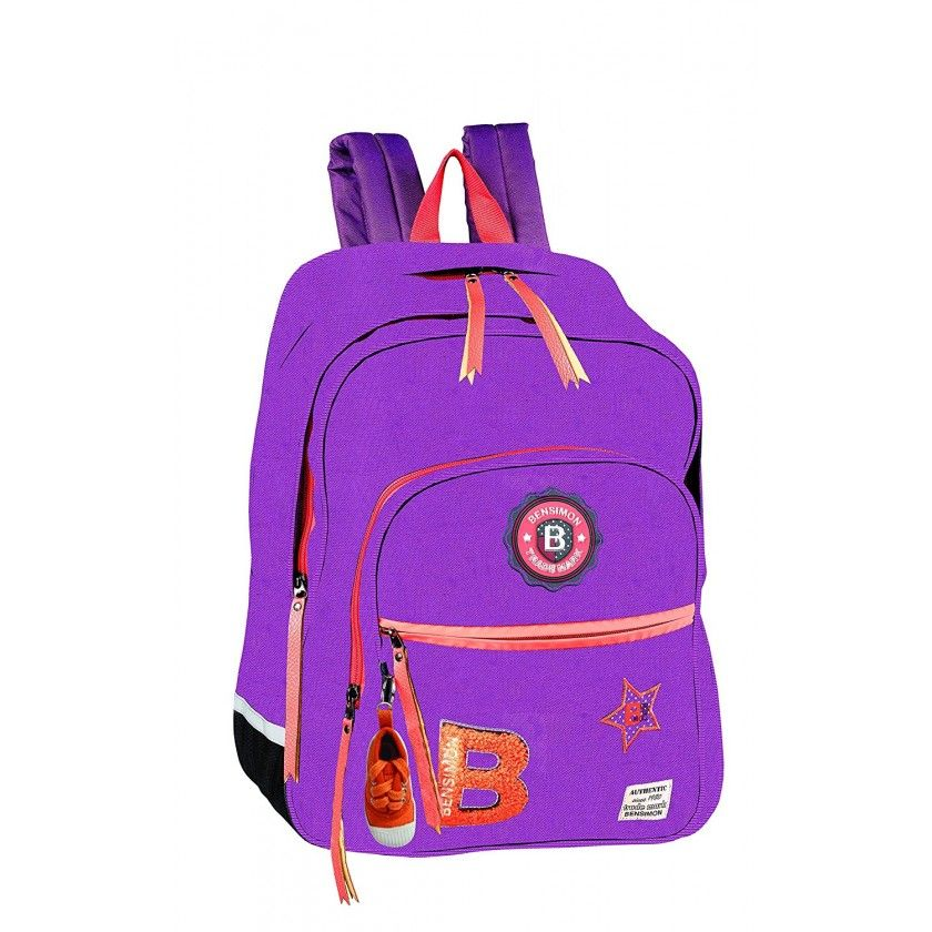 BENSIMON - Sac à Dos e Patch 41 cm - 2 Compartiments - Prune