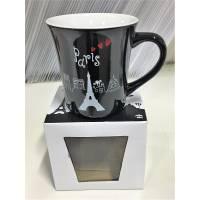 Paris - Mug en Céramique - La Tour Eiffel - Noir - Boite Cadeaux
