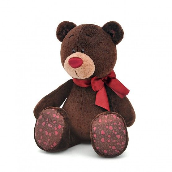 Peluche Ours Choco - 20 cm - Marron Rouge