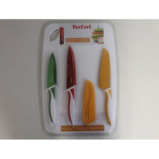 Tefal - Fresh Kitchen - Set de 3 Couteaux Antiadhésif + Une Planche à Découper